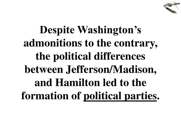 comparison between jefferson and hamilton essay Free essay: though both alexander hamilton and thomas jefferson served as members of president washington's cabinet, the two held very different views on the.