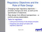 regulatory objectives and the role of rate design