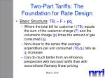 two part tariffs the foundation for rate design
