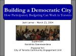 building a democratic city how participatory budgeting can work in toronto