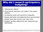 why did i research participatory budgeting