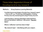 three inter dependent areas of development in my research