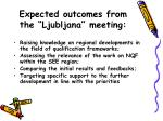 expected outcomes from the ljubljana meeting