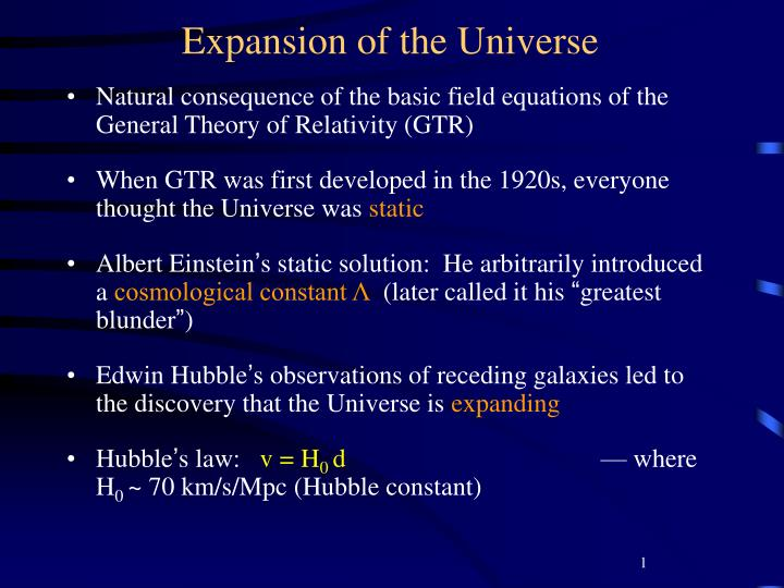 expansion of the universe n.