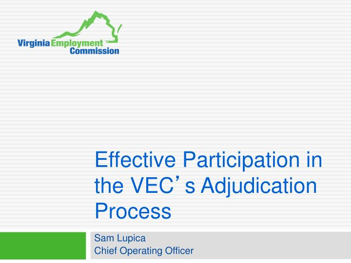 effective participation in the vec s adjudication process n.