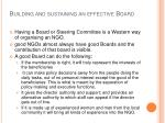 building and sustaining an effective board