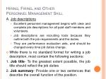 hiring firing and other personnel management skill