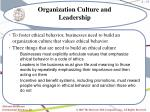 organization culture and leadership