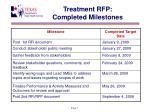 treatment rfp completed milestones