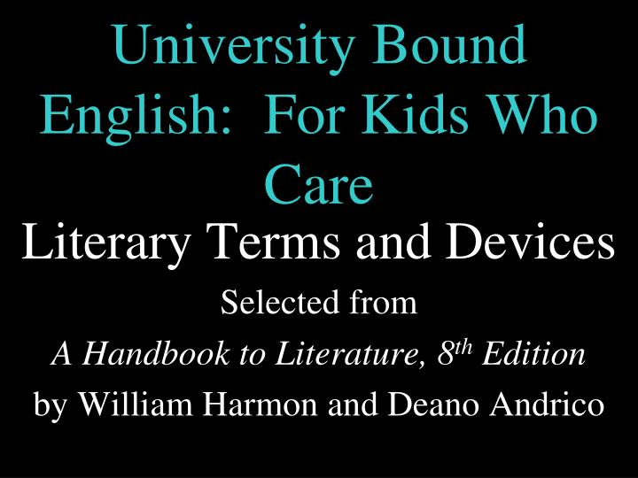 university bound english for kids who care n.
