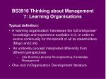 bs3916 thinking about management 7 learning organisations