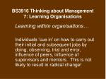 bs3916 thinking about management 7 learning organisations19