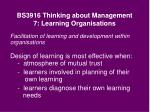 bs3916 thinking about management 7 learning organisations24