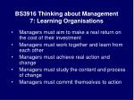 bs3916 thinking about management 7 learning organisations27