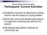 women s mental health roundtable participants current activities1