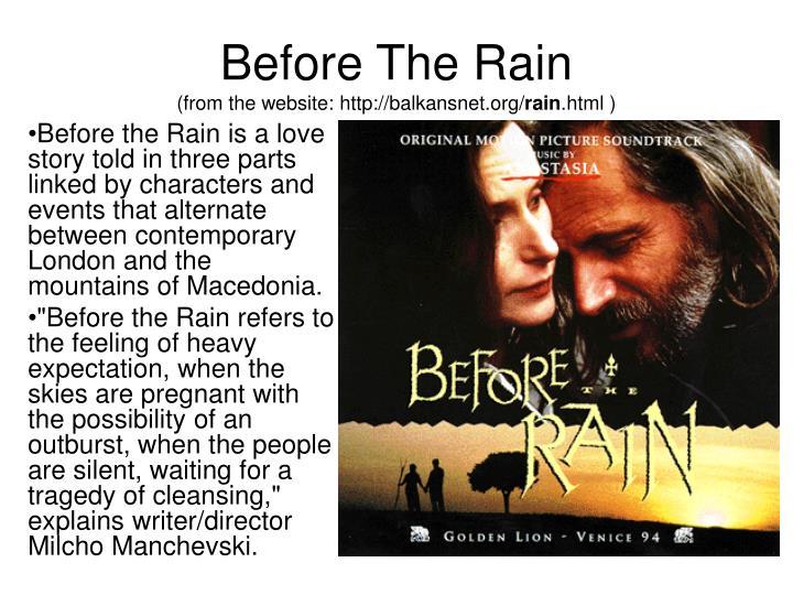 Before the rain milcho manchevski online dating 1