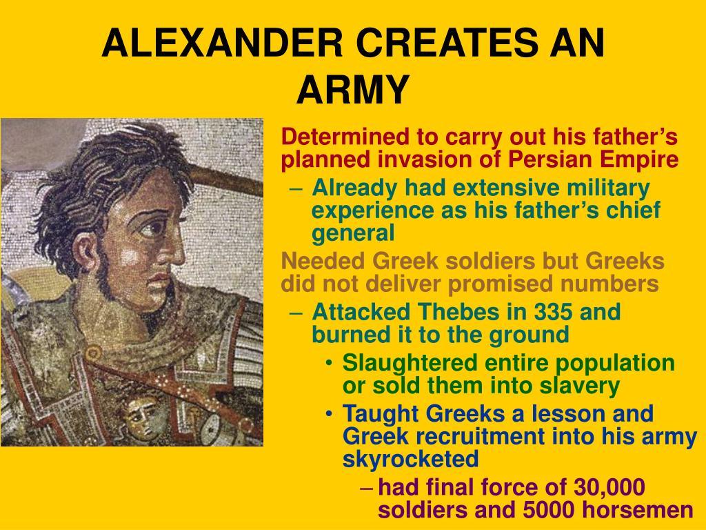 ALEXANDER CREATES AN ARMY
