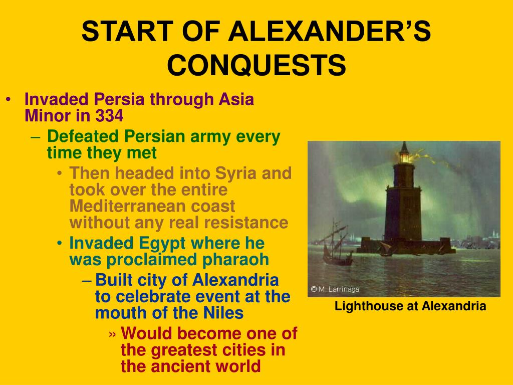 START OF ALEXANDER'S CONQUESTS