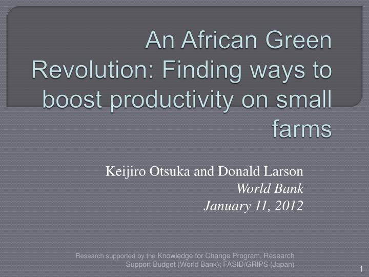 an african green revolution finding ways to boost productivity on small farms n.