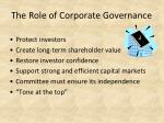 the role of corporate governance