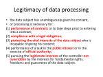legitimacy of data processing