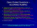 open ended questions scoring rubric