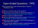 open ended questions tips