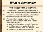 what to remember