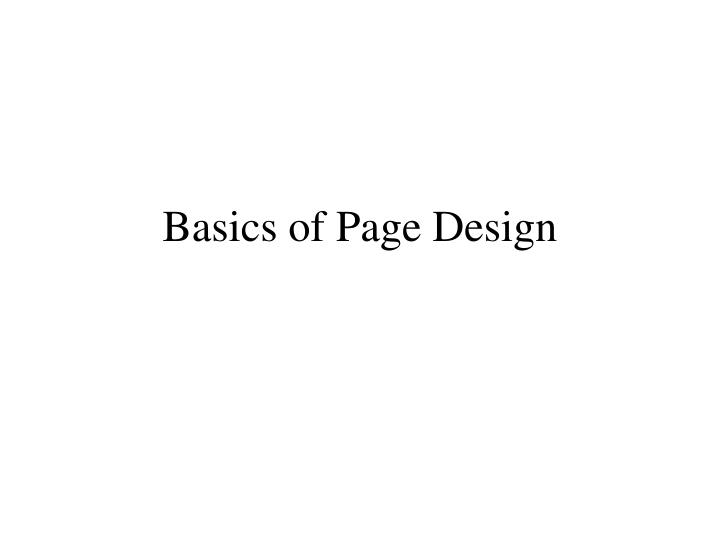 basics of page design n.