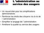 l administration au service des usagers