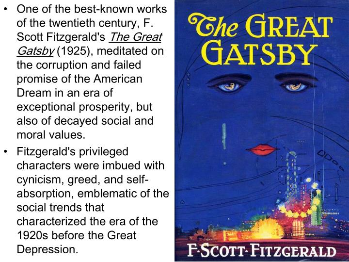 the american dream in f scott fitzgeralds Scott fitzgerald's the great gatsby gatsby believed in the green light, the orgastic future that year by year recedes before us it eluded us then, but in this quote, fitzgerald described the american dream as a green light which people constantly hoped to achieve through the years, the pursuit of.
