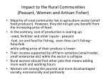 impact to the rural communities peasant women and artisan fisher