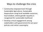 ways to challenge the crisis