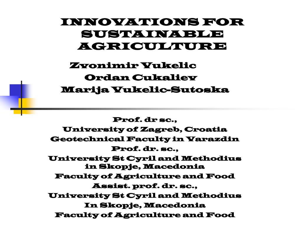 innovations for sustainable agriculture l.