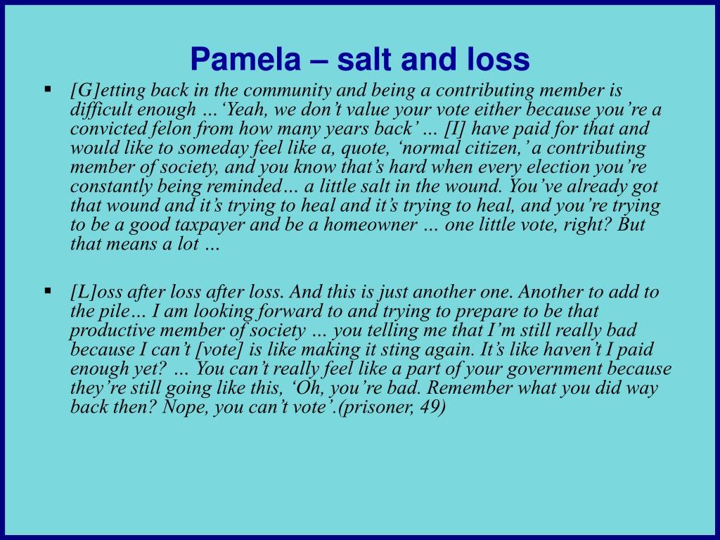 Pamela – salt and loss