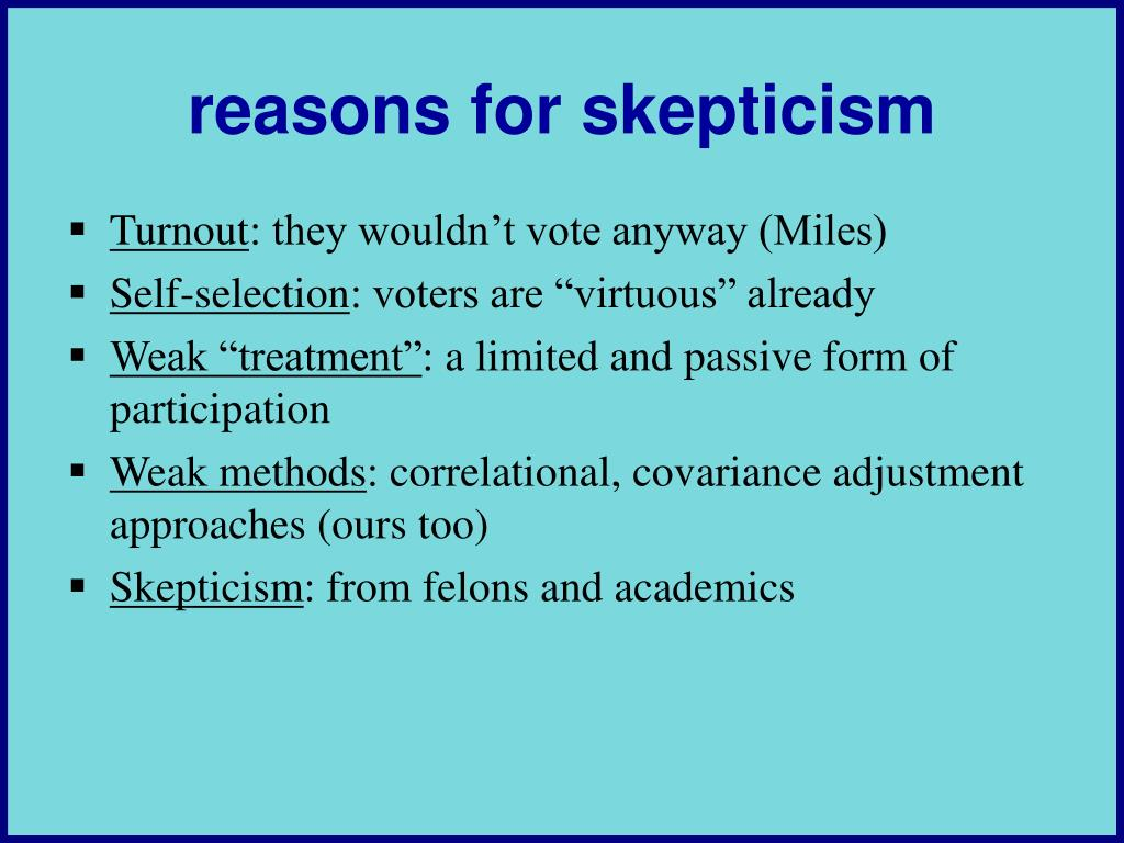reasons for skepticism