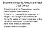 economic analytic accountancy per cost center