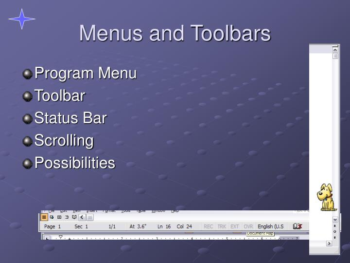 Menus and Toolbars