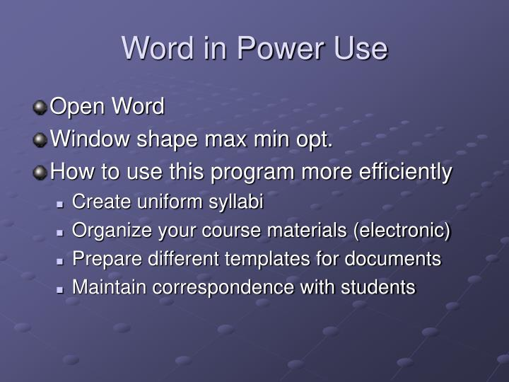 Word in Power Use
