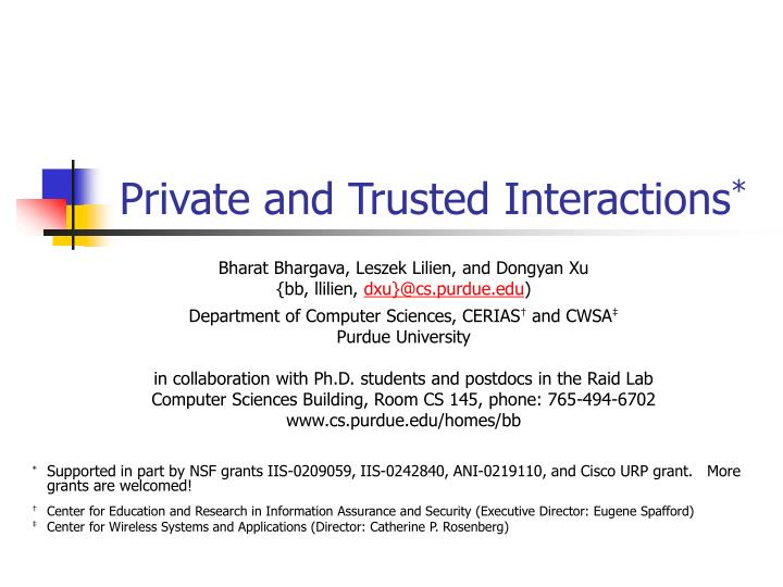 private and trusted interactions n.