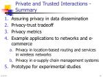 private and trusted interactions summary