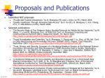 proposals and publications