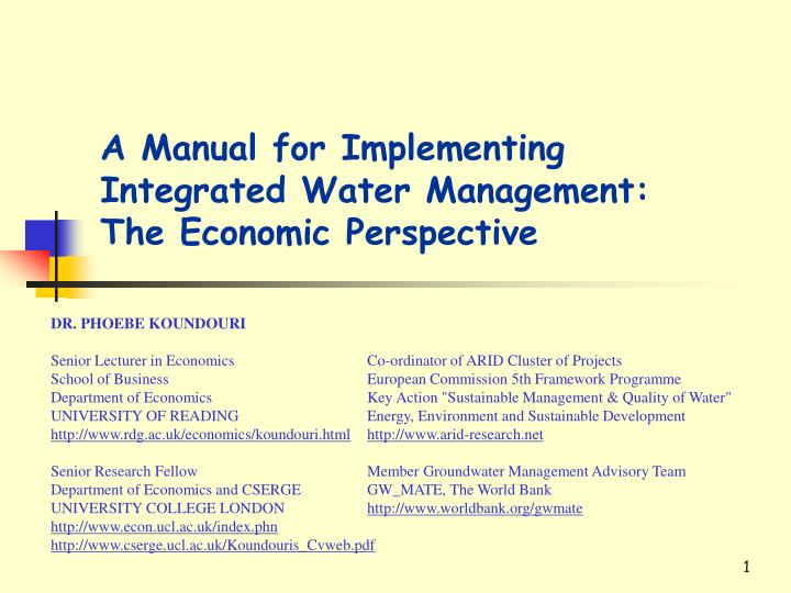 a manual for implementing integrated w ater management the economic perspective n.