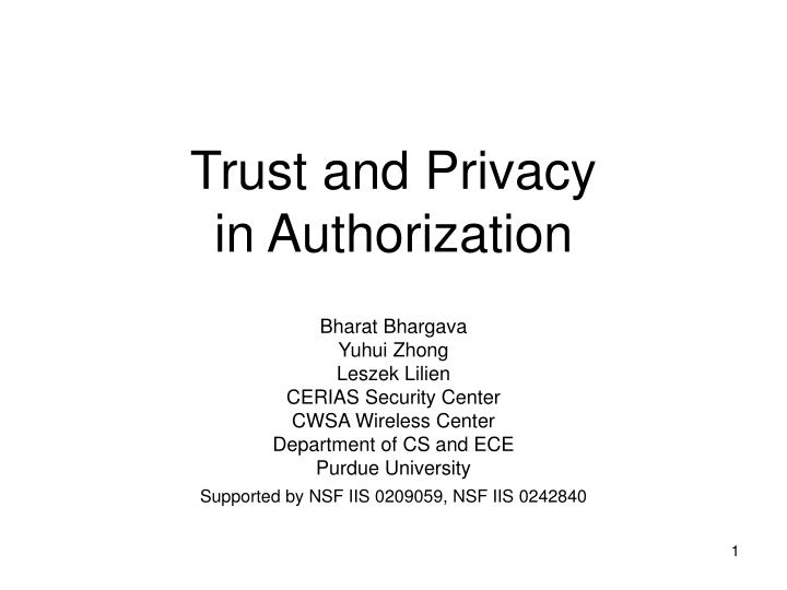 trust and privacy in authorization n.