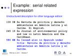 example serial related expression