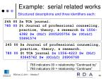 example serial related works