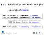 relationships with works examples