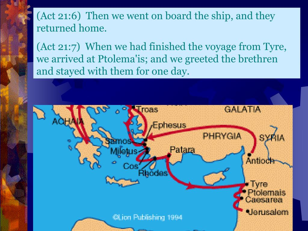 (Act 21:6)  Then we went on board the ship, and they returned home.
