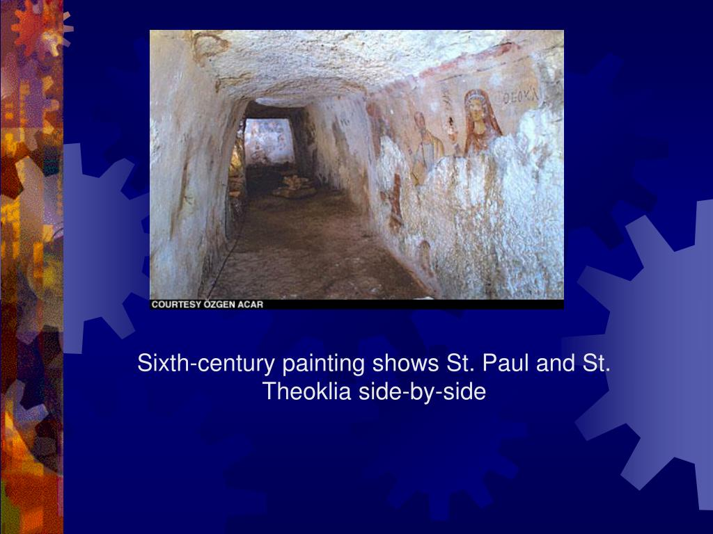 Sixth-century painting shows St. Paul and St. Theoklia side-by-side