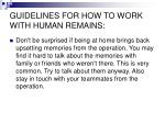 guidelines for how to work with human remains13